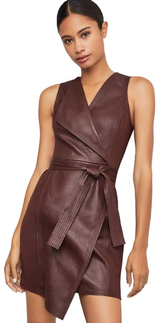 Item - Brown Asymmetrical Pleather Short Night Out Dress Size 4 (S)