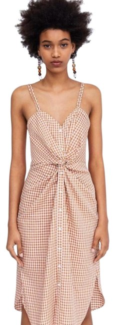 Item - Orange and White Checkered Gingham Front Knot Spaghetti Strap Shirt Drs Mid-length Casual Maxi Dress Size 4 (S)
