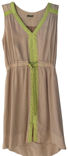 Item - Beige and Green Silk with Bright Contrast Short Casual Dress Size 4 (S)