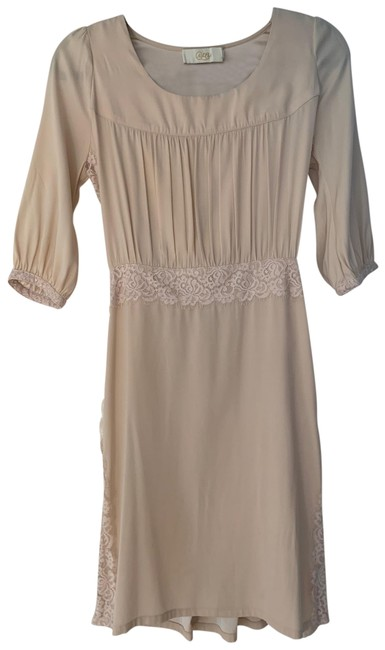 Item - Nude Silk Lace Trim Short Casual Dress Size 4 (S)