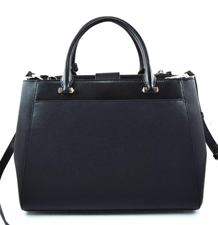 Michael Kors Gibson Large BlackSilver Leather Satchel 43% off retail