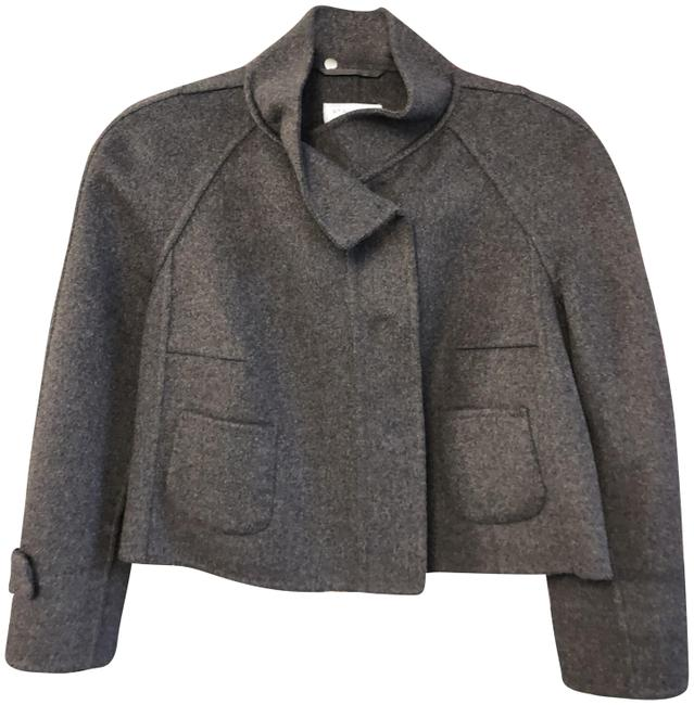 Item - Gray Wool Blend Button Front 3/4 Sleeve Cropped Jacket Size 4 (S)
