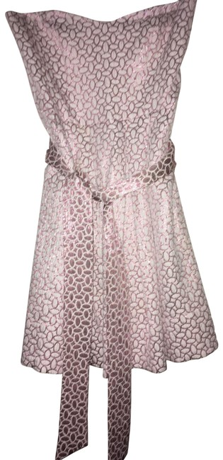 Item - Pink and White Mid-length Cocktail Dress Size 12 (L)