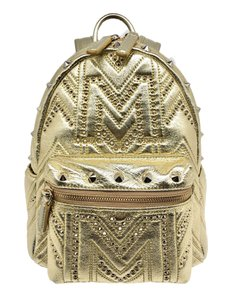 MCM Leather Studded Monogram Small Munich Backpack