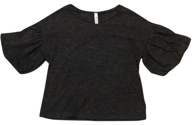 Item - Grey Statement Sleeves Blouse Size 4 (S)