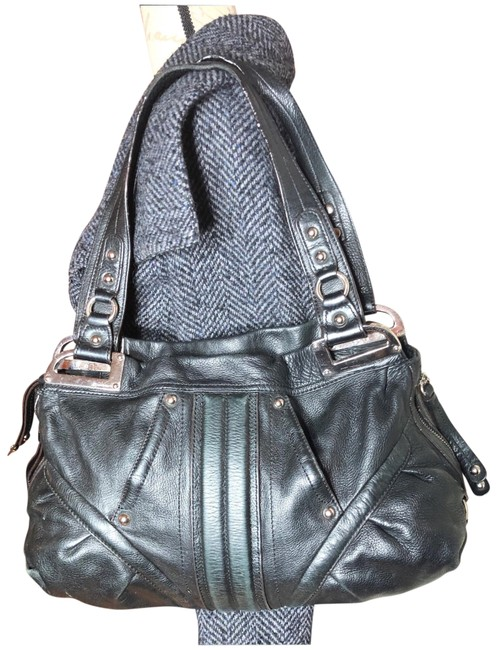 Item - Multiple Large Style Satchel with Compartments and Hardware Black/Silver Pebbled Leather Hobo Bag