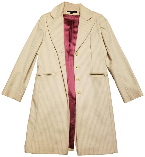 Item - White with Burgundy Stripes Of Single-breasted Wool Blend Coat Size 6 (S)