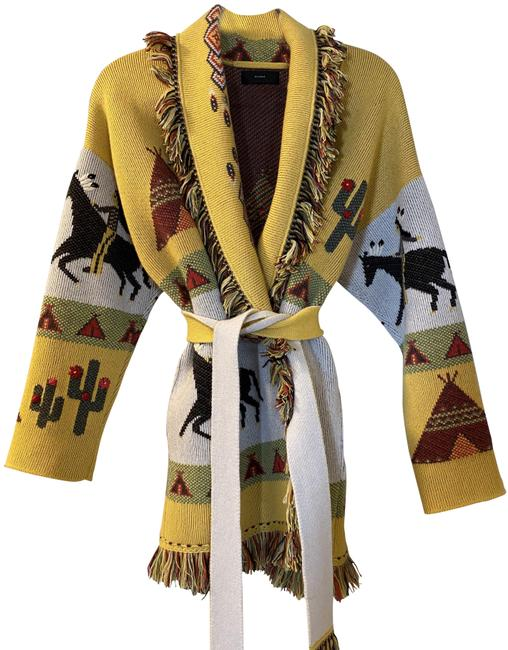 Alanui Yellow White Tepee Series Cardigan Size 4 (S) Alanui Yellow White Tepee Series Cardigan Size 4 (S) Image 1