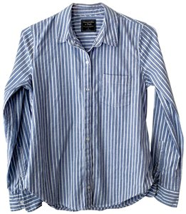 Abercrombie & Fitch Striped Oxford Button Down Shirt Blue and White
