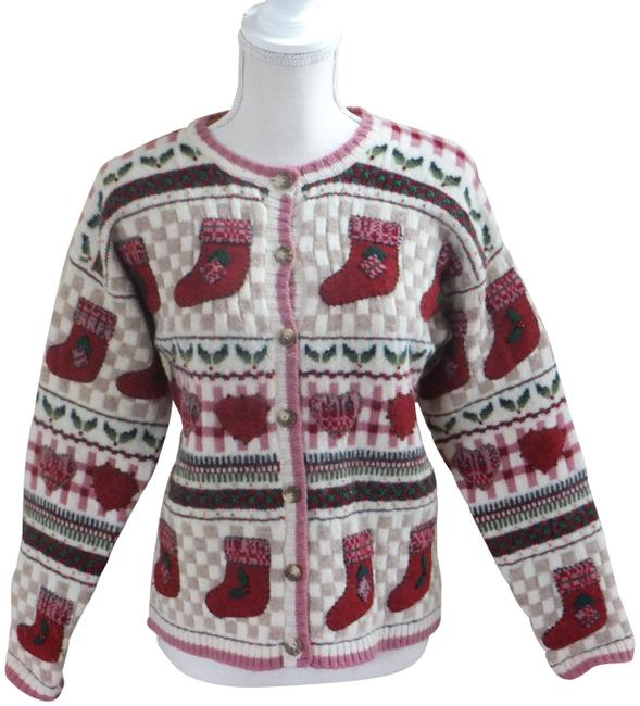 Talbots Christmas Embroidered/Beaded Red & Cream Sweater Talbots Christmas Embroidered/Beaded Red & Cream Sweater Image 1