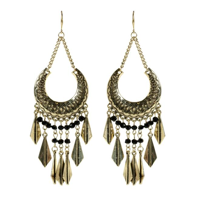 Amrita Singh Ant Gold Blk Gypsy Vintage Gypsy Look New Festival Ready Earrings Amrita Singh Ant Gold Blk Gypsy Vintage Gypsy Look New Festival Ready Earrings Image 1