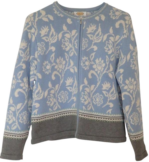 Talbots Embroidered Floral Full Zip Blue Cream & Gray Sweater Talbots Embroidered Floral Full Zip Blue Cream & Gray Sweater Image 1