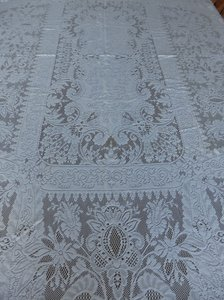 "Ivory Intricate Crocheted Lace 72"" X 44"" Tablecloth"