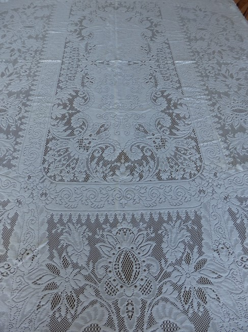 "Ivory Intricate Crocheted Lace 72"" X 44"" Tablecloth Ivory Intricate Crocheted Lace 72"" X 44"" Tablecloth Image 1"
