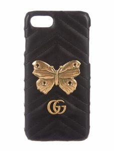 Gucci Gucci black chevron iPhone 7 and 8 case cover gold butterfly and gg logos