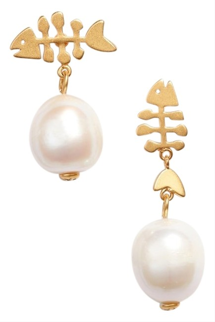 Tory Burch Gold White Fish And Pearl Drop Earrings Tory Burch Gold White Fish And Pearl Drop Earrings Image 1