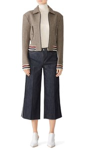 J.O.A. Spread Collar Houndstooth/Plaid Buttoned Flap Cuffed Long Sleeves Woven Construction Multi-Color Jacket