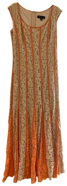 Item - Orange and Cream Long Formal Dress Size 12 (L)