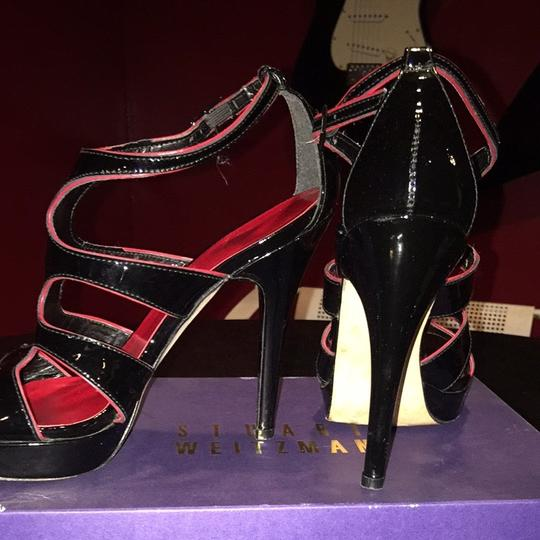 Stuart Weitzman Black With Hint Of Red Platforms
