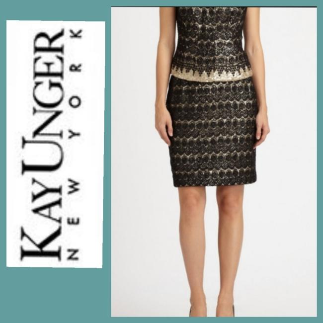 Kay Unger Black and Green Pencil Skirt Size 2 (XS, 26) Kay Unger Black and Green Pencil Skirt Size 2 (XS, 26) Image 1