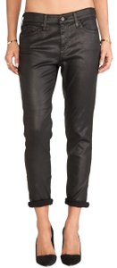 AG Adriano Goldschmied Faux Leather Leatherette Boyfriend Cut Jeans-Coated
