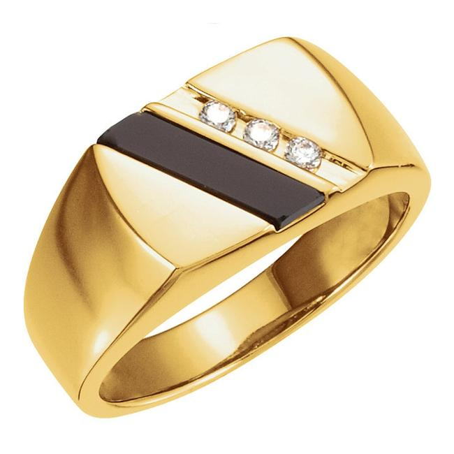Item - Yellow 0.10 Ct Round and Onyx Ring Men's Wedding Band