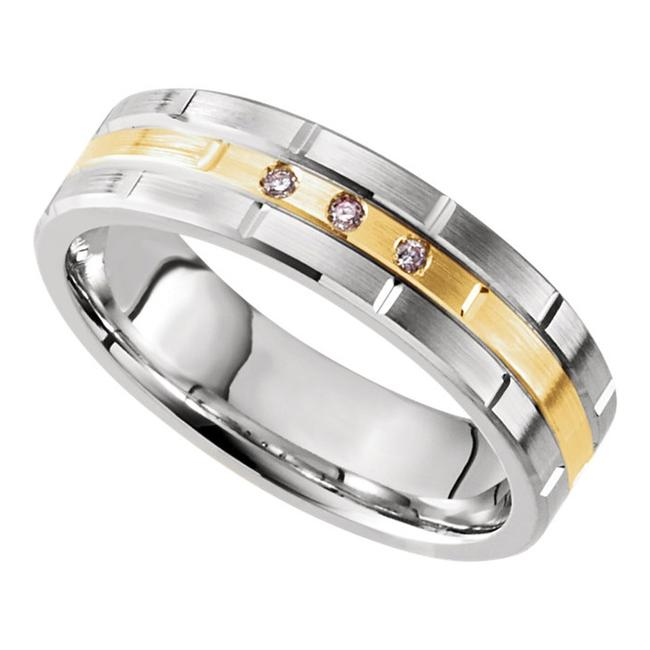 Item - White and Yellow 0.15 Ct Two Tone Grooved Men's Wedding Band