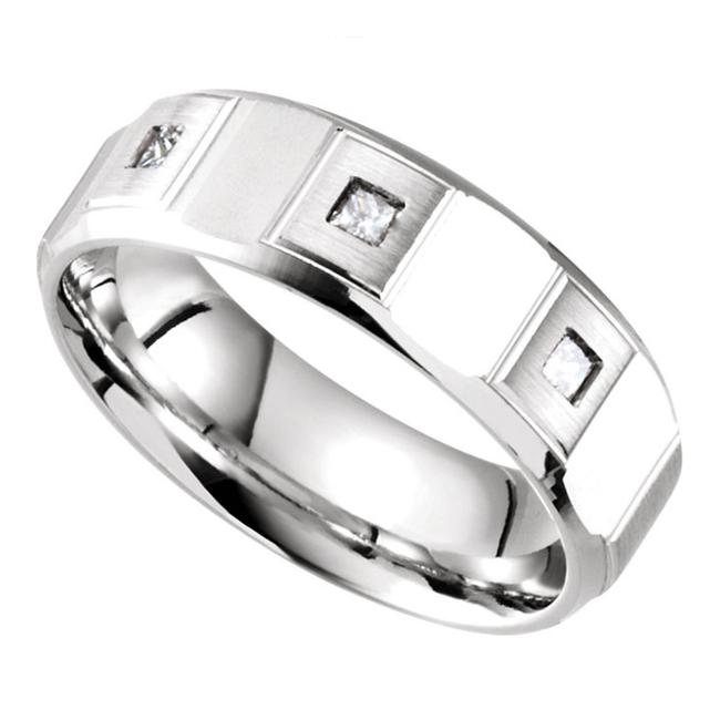 SB Diamond White 0.21 Ct Princess Men's Wedding Band SB Diamond White 0.21 Ct Princess Men's Wedding Band Image 1