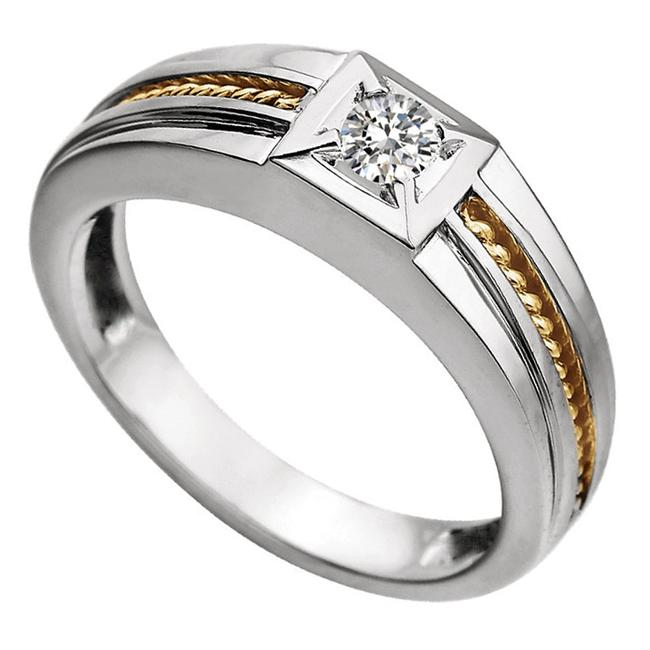 Item - White and Yellow 0.25 Ct Two Tone Round Solitaire Ring Men's Wedding Band