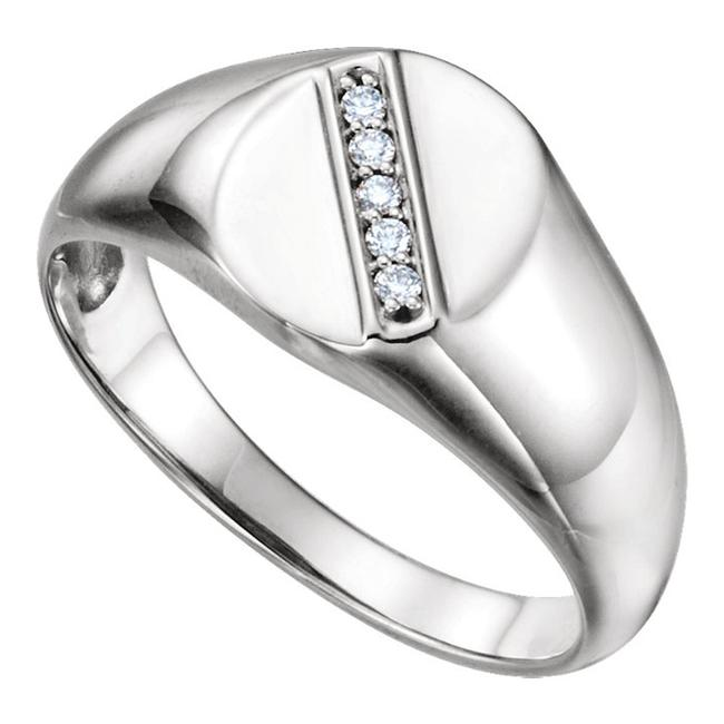 Item - White 0.50 Ct Round Oval Singned Ring Men's Wedding Band