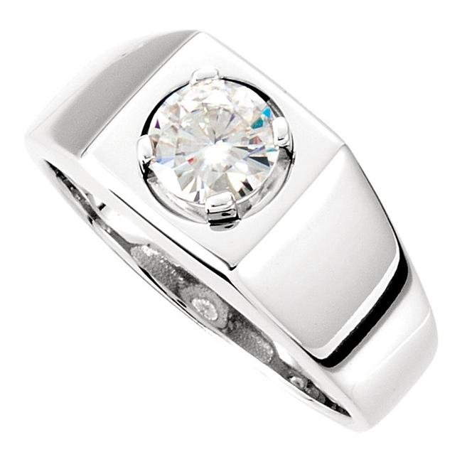 Item - White 0.50 Ct Round Solitaire Ring Men's Wedding Band
