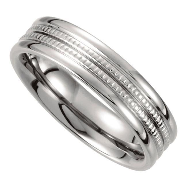 SB Diamond White 14 Kt Grooved Men's Wedding Band SB Diamond White 14 Kt Grooved Men's Wedding Band Image 1