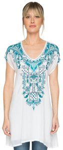 Johnny Was Embroidered Bold Blue Embroidery Cupra Rayon High Low Xs Tunic