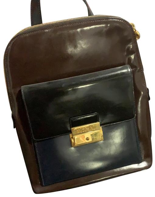 Item - Brown and Black Blue Leather Backpack