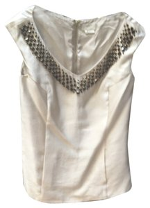 Kate Spade Evening Neutral Embellished Top beige