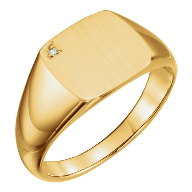 Item - Yellow 14 Kt Gold Signet Ring with Accent Men's Wedding Band