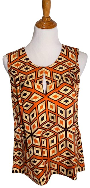 Item - Orange Black Goldish-yellow Geometric Blouse Size 12 (L)
