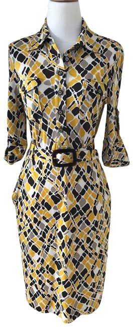 Item - Gold/ Brown/ Cream 22082401 Mid-length Work/Office Dress Size 4 (S)