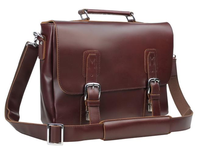 Item - Full Grain with Clasp Lock L55 Wine Red Leather Laptop Bag