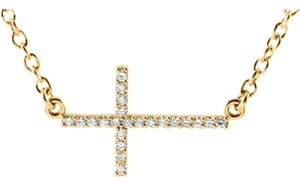 Apples of Gold 14K YELLOW GOLD DIAMOND CROSS BAR NECKLACE