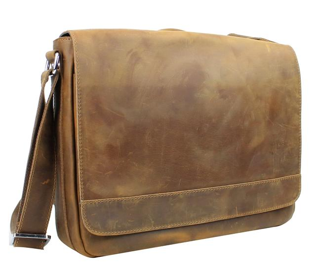 """Item - 15"""" Cowhide Casual with Top Lift Handle L56 Vintage Brown Leather Messenger Bag"""
