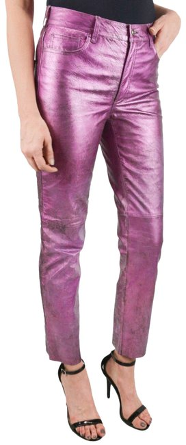 Item - Metallic Pink-purple 40/4 Made In Italy Calfleather Ankle Pants Size 4 (S, 27)
