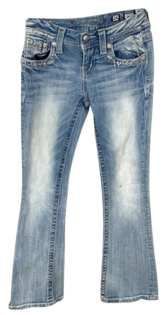 Item - Blue Light Wash Distressed Jeweled Embroidered Denim Bling Boot Cut Jeans Size 24 (0, XS)