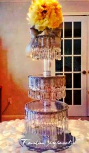Clear Crystals Acrylic and Silver Trim Cupcake Stand Cupcake Tower 4 Tiers with Bling An Cake Topper