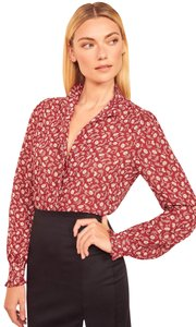 Reformation Floral Floral Print Button Down Shirt Red