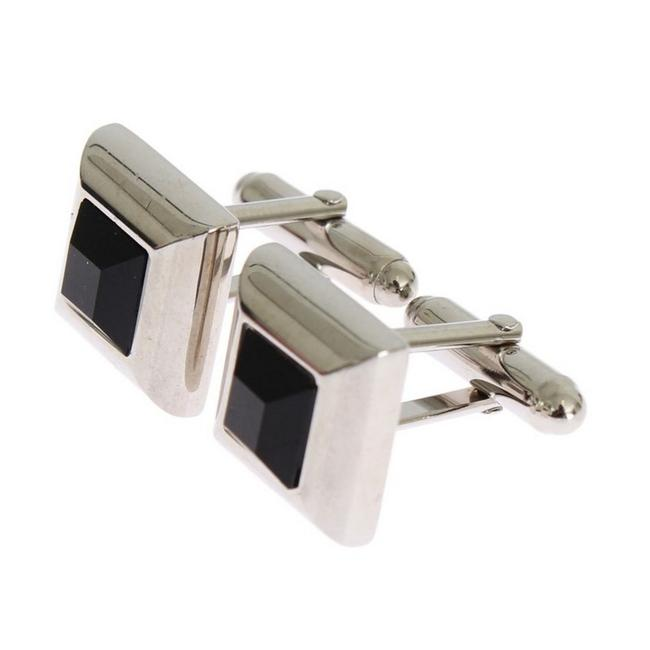 Item - Silver D31511 Brass Black Stone Cufflinks/Studs