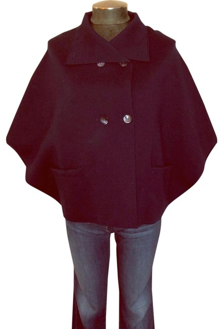 Item - Navy Blue Wool Double Breasted Poncho/Cape Size 8 (M)