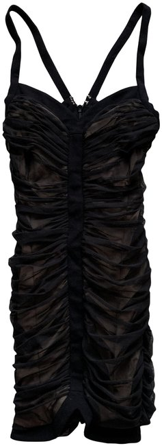 Item - Black Mesh Rouched Short Night Out Dress Size 6 (S)