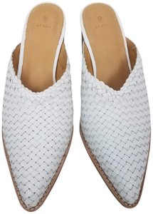 Bill Blass Anthropologie Leather Woven White Mules