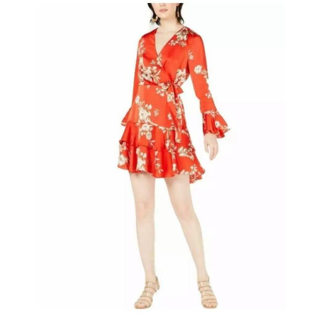 Item - Red Faux Wrap Floral Print Short Cocktail Dress Size 2 (XS)
